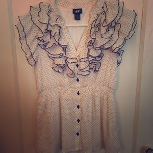 H&M polka dot ruffled blouse